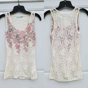 Maurices Cream Lace Floral Tank
